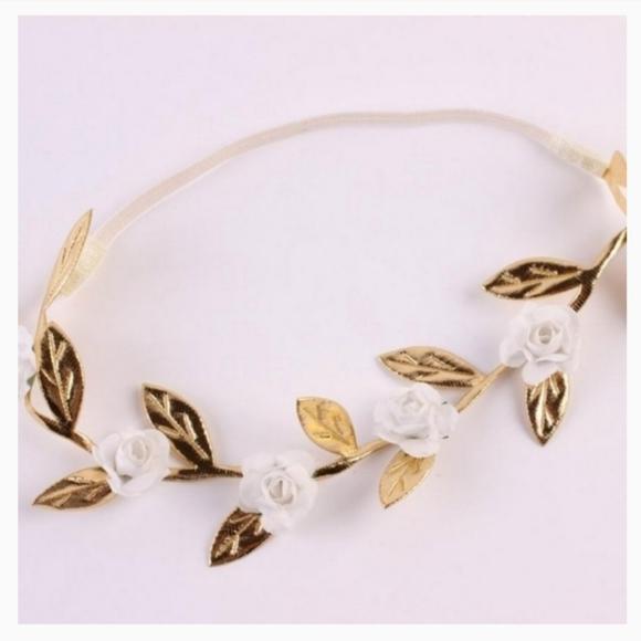 Set of 3 Gold Leaf Headband/Hair Accessory Set